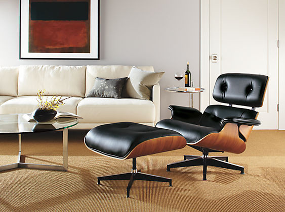 Eames style lounge chair and ottoman by barcelona designs midcentury living room toronto for Barcelona chair living room ideas
