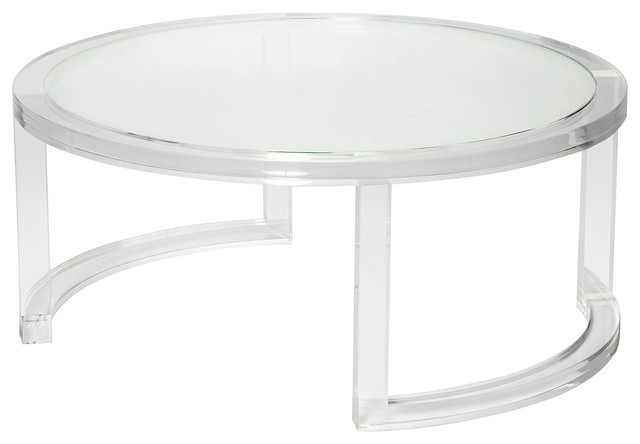 Ava Modern Round Clear Glass Acrylic Coffee Table Modern Coffee Tables