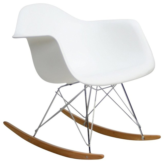 Excellent Classic Mid Century Rocker Arm Chair White Caraccident5 Cool Chair Designs And Ideas Caraccident5Info