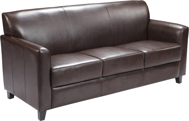 "Hercules Diplomat Series Leather Sofa, Brown, 69""x28.50""x32.50"""