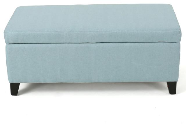 pyram mid century modern ottoman bench blue