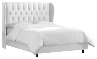 Pemberly Row Upholstered King Tufted Panel Bed, White