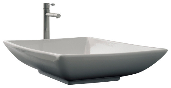 Rectangular White Ceramic Vessel Sink, No Hole Contemporary Bathroom Sinks