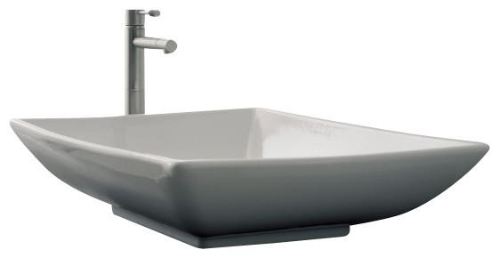 Rectangular White Ceramic Vessel Sink, No Hole.