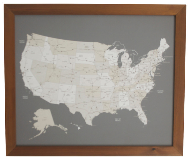 United States Push Pin Travel Map With Handcrafted Wood Frame - Framed us map