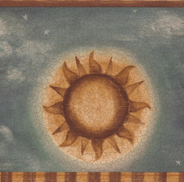Vintage Sun Moon Star Clouds Cracked
