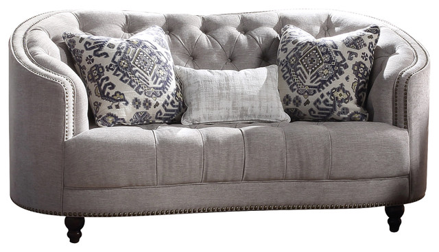 Acme Saira Stationary Down Feather Loveseat, Light Gray Fabric.