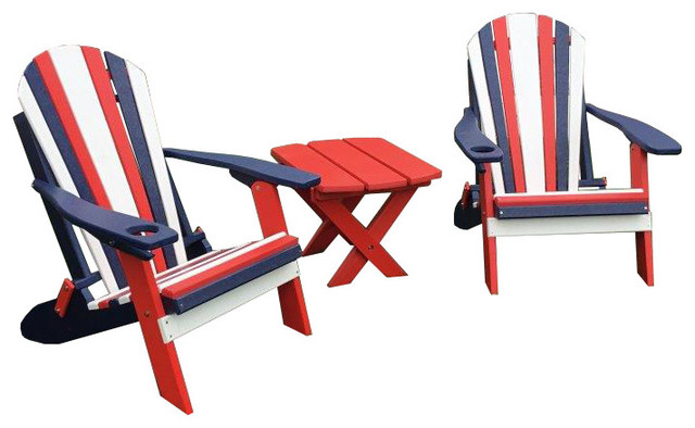 Phenomenal 3 Piece Poly Lumber Red White And Blue Folding Adirondack Chairs And Side Table Squirreltailoven Fun Painted Chair Ideas Images Squirreltailovenorg