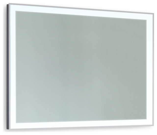 "Stellar Stainless Steel Framed LED Mirror, 30""x36""x1.75"""