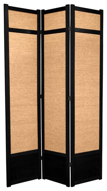 7' Tall Jute Shoji Screen, 3 Panel, Black