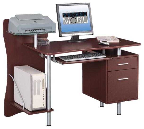 Techni Mobili Computer Desk In Chocolate.