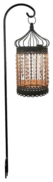 "17.5""h Antique Bronze Solar Outdoor Hanging Lantern W/ Faceted Acrylic Jewels"