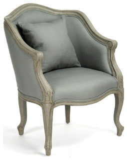 Pierre French Country Sage Moss Curved Back Club Chair   Armchairs And Accent  Chairs