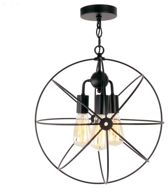 3 Lights Antique Black Metal Cage Globe Semi Flush Mount Ceiling
