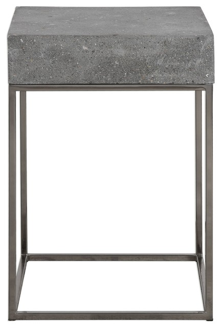 Great Silver Concrete Top Accent Table, End Open Square Gray Contemporary Side  Tables