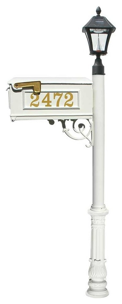 Mailbox Post With Vinyl Numbers on Mailbox - Traditional - Mailboxes - by Qualarc