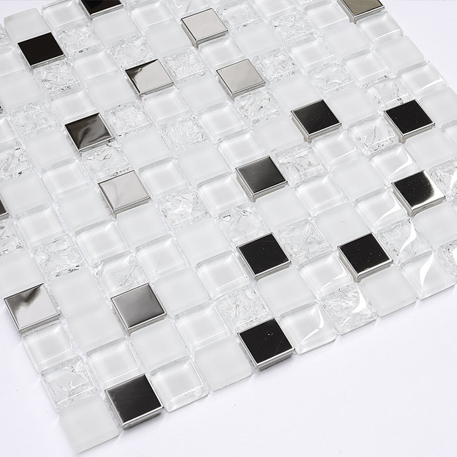 Modern White Glass Metal Mosaic Backsplash Tile Modern Mosaic Beauteous Modern Mosaic Tile Backsplash