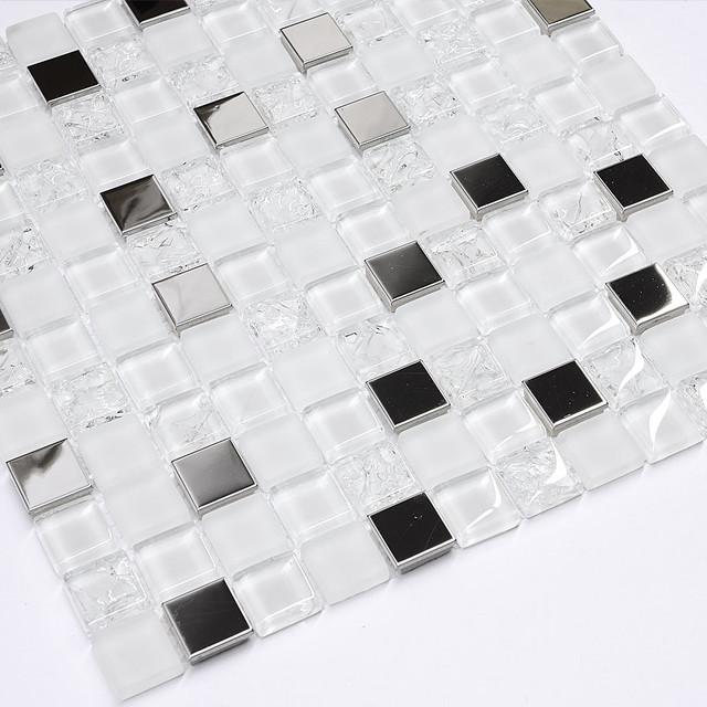 modern white glass metal mosaic backsplash tile modern mosaic tile