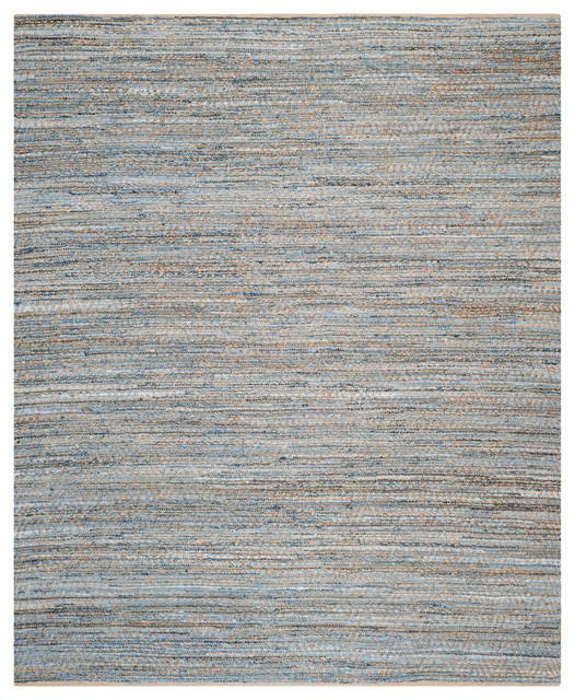 Harper Hand Woven Rug, Natural/blue, 10&x27;x14&x27;.