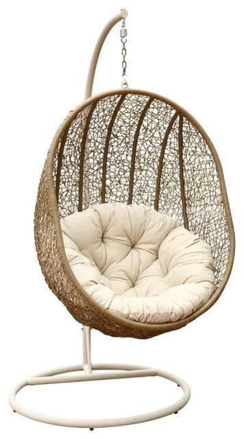 Hampton Outdoor Light Brown Wicker Swing Chair Tropical