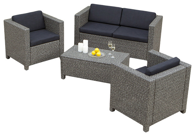 GDFStudio Venice 4Piece Outdoor Wicker Sofa Set Outdoor Lounge