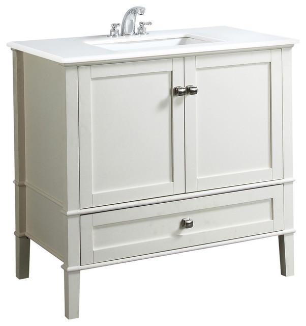 Bath Vanity, Soft White by Simpli Home Ltd.
