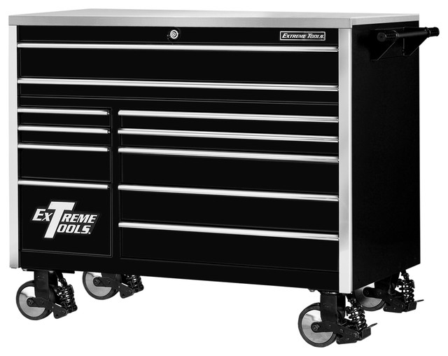 Extreme Tools 55 11-Drawer Professional Roller Cabinet, Black - Contemporary - Garage And Tool ...