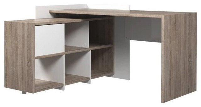tvilum watson computer desk with 6shelf bookcase truffle and white