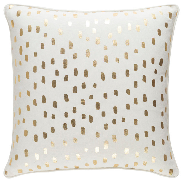 Modern Cotton Cream And Metallic Gold Accent Pillow 18 X18 Contemporary Decorative Pillows By Gwg Outlet