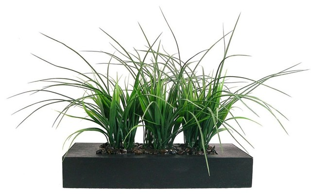 Laura Ashley Green Grass in Contemporary Wood Planter contemporary -artificial-flowers-plants-
