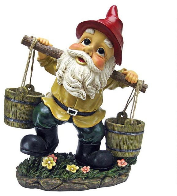 Gnome In Garden: Gnome With Two Buckets Home Garden Gnome Statue Sculpture