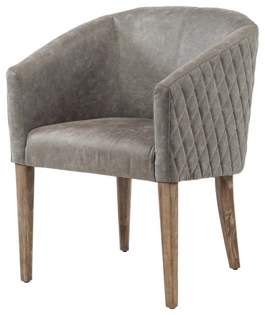 Durham Quilted Gray Leather Arm Chair Farmhouse Dining