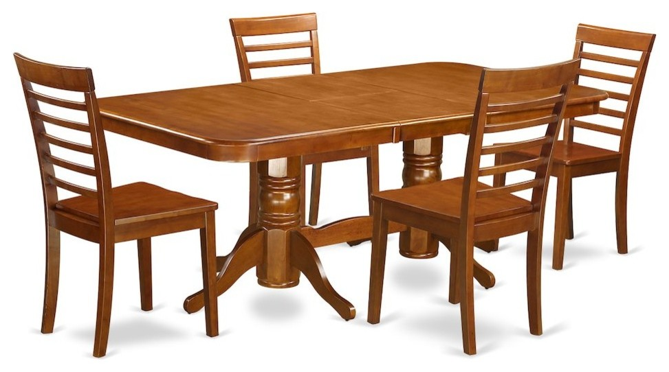 5-Piece Dining Set, Table, Leaf and 4 Chairs for Dining Without Cushion