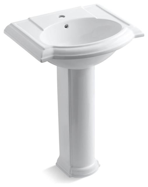 Kohler Devonshire Pedestal Lavatory With 1-Hole Faucet Drilling, White.