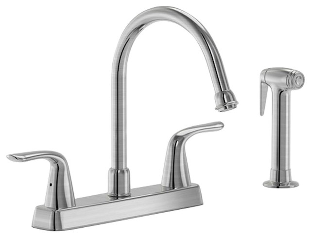 Parmir Four Hole Double Handle Kitchen Faucet,cover Plate, Sprayer.