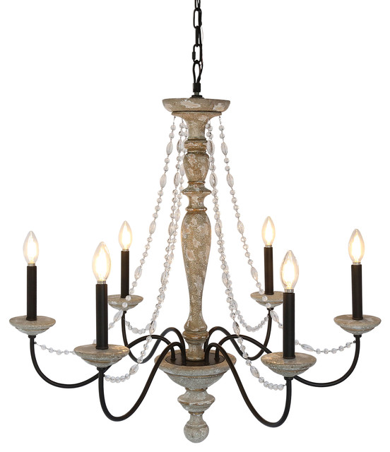 Jane French Country Rustic 6 Light Distressed Wood Chandelier Crystal