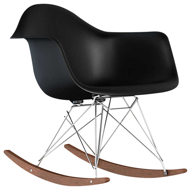Eames Molded Plastic Rocking Chair by Herman Miller, Black, Trivalent Chrome by Herman Miller