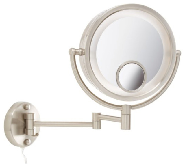 Wall Makeup Mirror jerdon hl8515n 8.5-inch two-sided swivel halo lighted wall mount