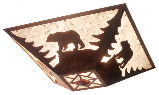 drop ceiling mount - bear - rustic - flush-mount ceiling lighting