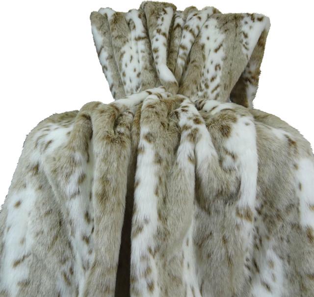 "Plutus Siberian Leopard Handmade Bedspread, 80""x110"""