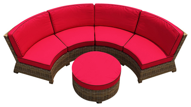 Cypress 3 Piece Curved Patio Sectional Set Flagship Ruby Cushions contemporary-outdoor-sofas  sc 1 st  Houzz : curved sectional patio furniture - Sectionals, Sofas & Couches