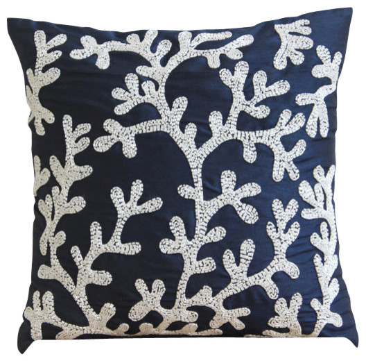 Coral Design Art Silk Navy Blue Decorative Pillows Cover Navy Amazing Navy And White Decorative Pillows