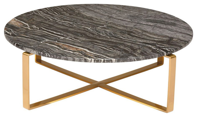Rosa Round Marble Coffee Table Black Wood Vein Gold Base