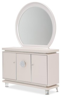 Aico Michael Amini Glimmering Heights Upholstered Sideboard, With Mirror