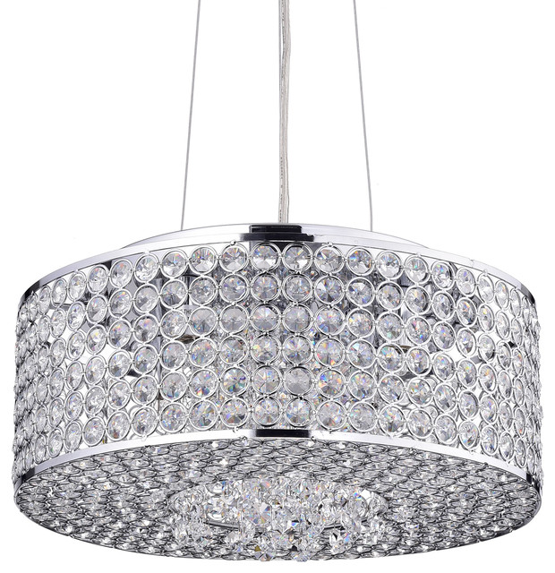 round drum crystal shade chandelier chrome