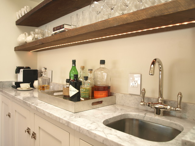 Wet bar - Wood Shelves - Country - Kitchen - New York - by ...