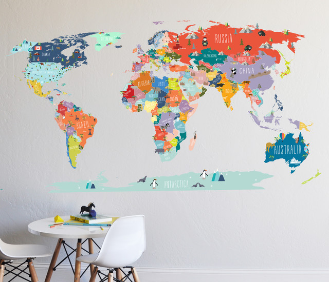 World Map Interactive Map Wall Decal Contemporary Wall Decals - World map wallpaper decal