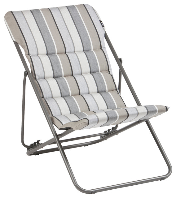 Lafuma Maxi Transat Folding Sling Chair, Set Of 2, Stripy Grey Sunbrella  Modern