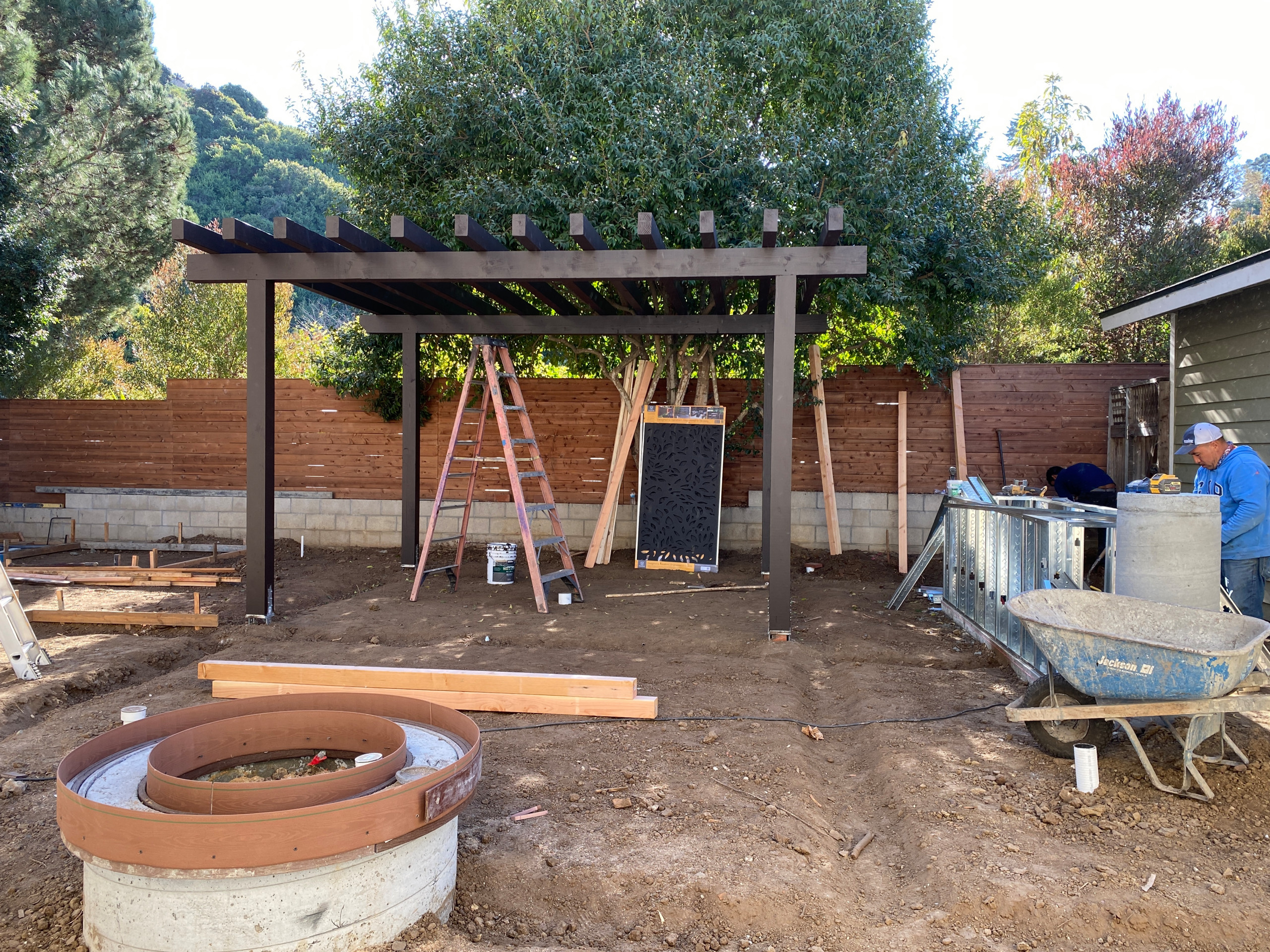 Building an Outdoor Kitchen Island, Fire Pit, and Pergola