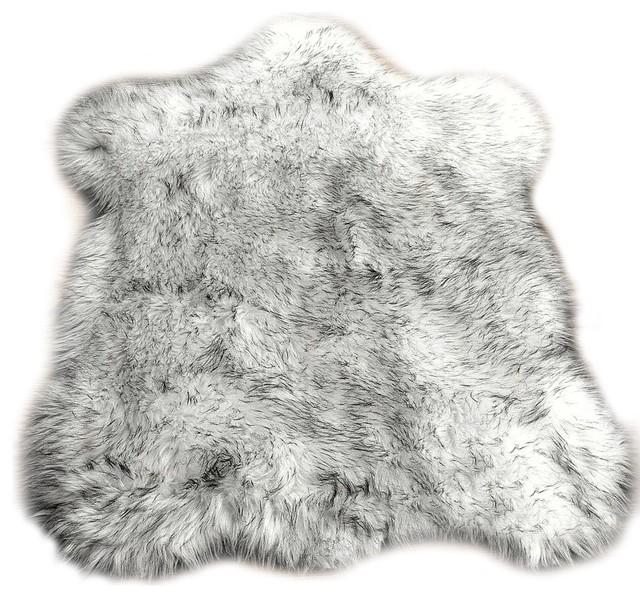 Black Tip Russian Wolf Faux Fur Shag Throw Area Rug